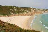 Autumn at Porthcurno beach Cornwall England UK by the Minack Theatre