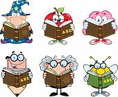 Different Mascots Reading A Book Cartoon Characters. Set Collection