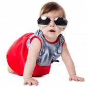 baby with sunglasses isolated on white background