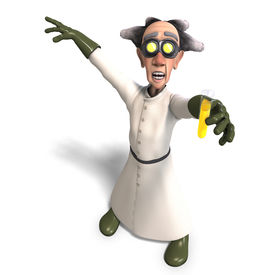 image of mad scientist  - 3D rendering of a mad scientist with dangerous fluid with clipping path and shadow over white - JPG
