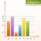 Paper bar chart, graph infographics elements. Vector.