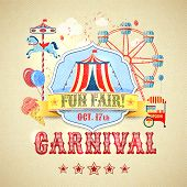 stock photo of funfair  - Vintage carnival fun fair theme park advertising poster vector illustration - JPG