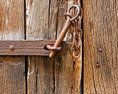 The Iron Latch On Wooden Door