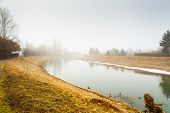 Fog on the river in autumn