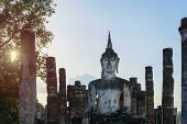 Buddha Statue In Old Buddhist Temple Ruins