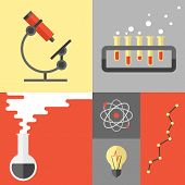 Science Research And Chemistry Flat Illustration