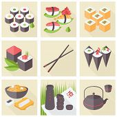 Asian Food Flat Icons Set