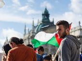 Face Of A Young Activist On The Background Of The Palestinian Flag