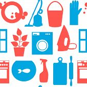 Seamless pattern with objects house cleaning. Vector illustration.