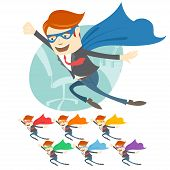 Постер, плакат: Vector Illustration of Office superman flying in front of his wo