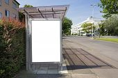 Bus stop billboard or poster, white, blank. Clipping path is included.
