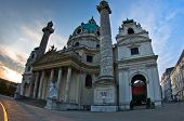 Karlskirche or saint Charles church exterior at sunrise in Vienna