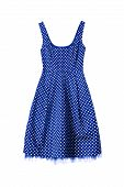 pic of underskirt  - Vintage blue with white dots dress isolated over white - JPG