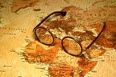 Glasses on a map of a world - Egypt
