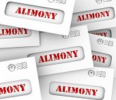 Alimony words on many envelopes as legally required or agreed upon financial obligation and spousal