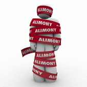 Alimony word on red tape wrapped around ex husband owing spousal support to wife as legal settlement and financial obligation