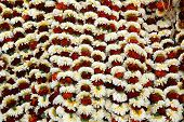KOKATA, INDIA - FEBRUARY 15: Flowers and garlands for sale at the flower market in the shadow of the