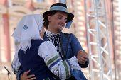 ZAGREB, CROATIA - JULY 18: Folk group Selkirk, Manitoba, Ukrainian Dance Ensemble Troyanda from Canada during the 48th International Folklore Festival in center of Zagreb, Croatia on July 18, 2014