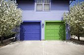 Blue & Green Garage Doors