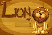 Illustration of a wooden frame with a lion