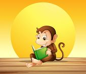 Illustration of a monkey reading
