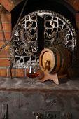 Glass Of Brandy Near A Fireplace