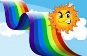 Illustration of a smiling sun near the rainbow