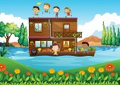 Illustration of a wooden house in the middle of the river with kids