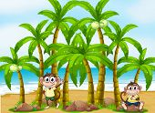 Illustration of a beach with coconut trees and monkeys