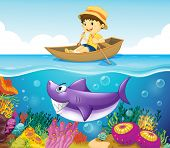 Illustration of a boy in the ocean with a shark