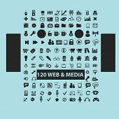 120 web, media, music, video black icons, signs, silhouettes, illustrations set. vector
