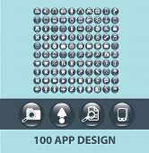 application, mobile, smartphone black buttons, icons, signs, silhouettes, illustrations set. vector