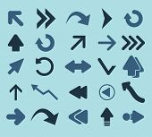 arrows, navigation, directions black icons, signs, silhouettes, illustrations set. vector