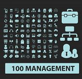 management, marketing, business black icons, signs, silhouettes, illustrations set. vector