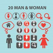 20 man, woman black isolated icons, signs, silhouettes, illustrations set, vector