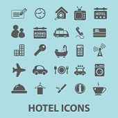 hotel, motel black isolated icons, signs, silhouettes, illustrations set, vector