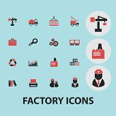 factory black isolated icons, signs, silhouettes, illustrations set, vector