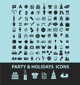 holidays, party, event black icons, signs, silhouettes, illustrations set. vector