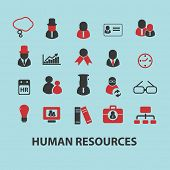 human resources, management, teamwork black isolated icons, signs, silhouettes, illustrations set, v