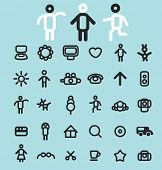 doodles, line black icons, signs, silhouettes, illustrations set. vector