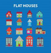 flat houses, buildings black isolated icons, signs, silhouettes, illustrations set, vector