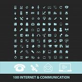 100 internet, communication, connection, phone black icons, signs, silhouettes, illustrations set. v