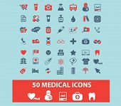 50 medical, health care icons black isolated icons, signs, silhouettes, illustrations set, vector