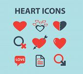 heart, love black isolated icons, signs, silhouettes, illustrations set, vector