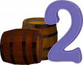 Illustration of the two wooden barrels on a white background