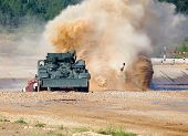 pic of rough-water  - Russian tank on a march over rough terrain with water impediments - JPG