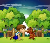 Illustration of a boy and his pet playing outdoor