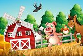 Illustration of the happy farm animals
