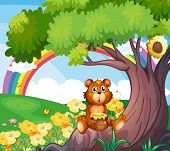 Illustration of a bear under the tree with a rainbow at the back