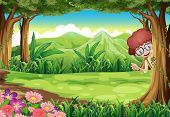 Illustration of a kid hiding at the tree inside the forest